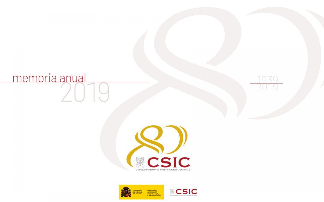 Disponible la Memoria Anual del CSIC 2019